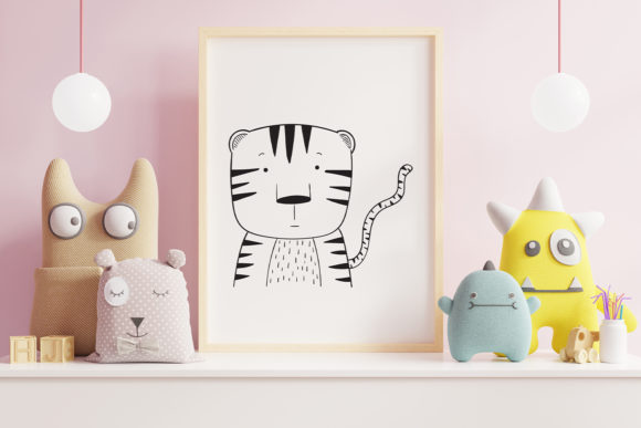 Print on Demand: Wall Art,Cute Tiger Animal Clip Art Graphic Illustrations By Saydung89