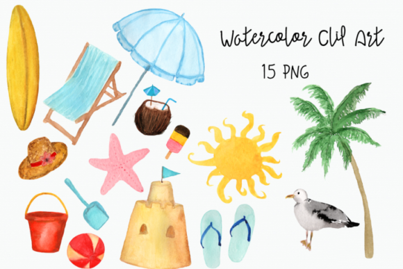 Watercolor Beach Clip Art Graphic Illustrations By tatibordiu