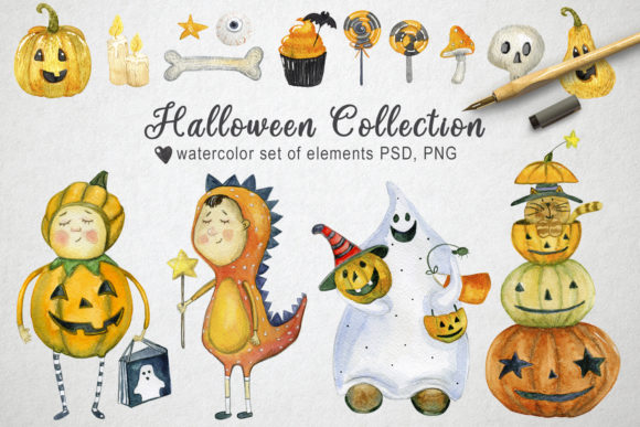 Watercolor Halloween Collection Graphic Illustrations By By Anna Sokol