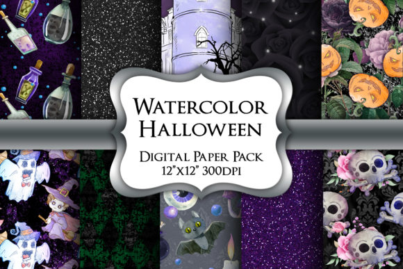 Print on Demand: Watercolor Halloween Digital Paper Pack Graphic Backgrounds By Party Pixelz