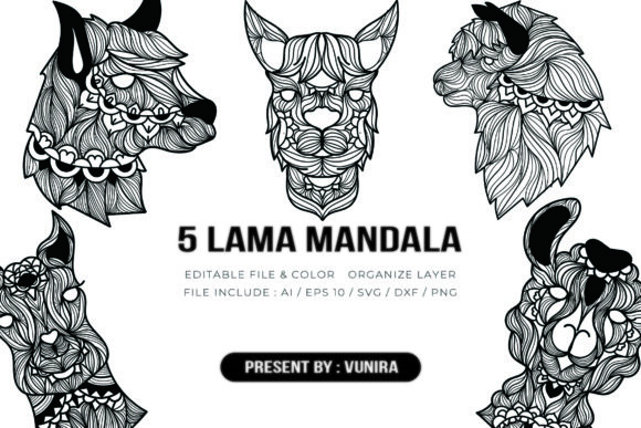 Print on Demand: 5 Lama Bundle | Mandala Graphic Crafts By Vunira