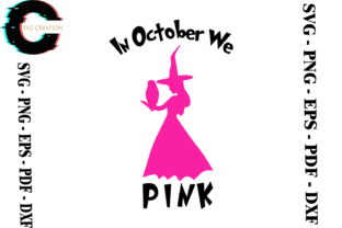 Print on Demand: Breast Cancer Awareness Witch Vetcor Graphic Print Templates By SVG Creation