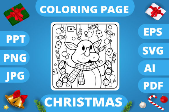 Print on Demand: Christmas Coloring Page for Kids #11 V3 Graphic Coloring Pages & Books Kids By MikeToon Studio