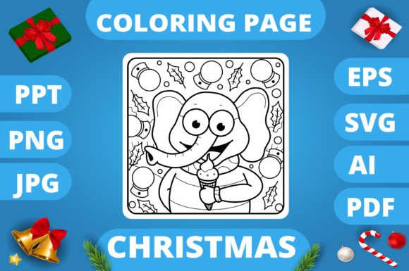 Print on Demand: Christmas Coloring Page for Kids #12 V3 Graphic Coloring Pages & Books Kids By MikeToon Studio