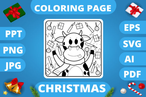 Print on Demand: Christmas Coloring Page for Kids #13 V3 Graphic Coloring Pages & Books Kids By MikeToon Studio