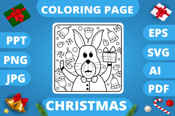 Print on Demand: Christmas Coloring Page for Kids #18 V3 Graphic Coloring Pages & Books Kids By MikeToon Studio