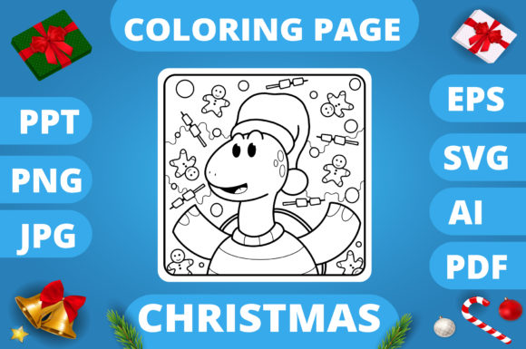 Print on Demand: Christmas Coloring Page for Kids #20 V3 Graphic Coloring Pages & Books Kids By MikeToon Studio