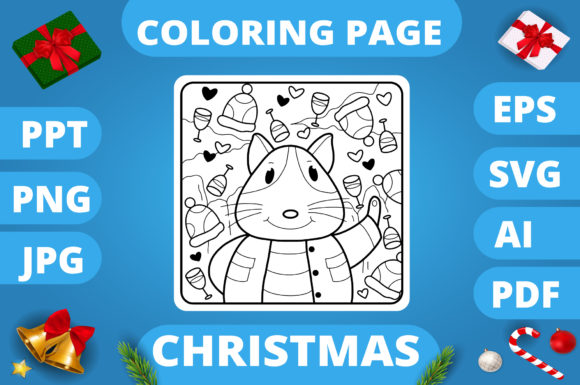 Print on Demand: Christmas Coloring Page for Kids #21 V3 Graphic Coloring Pages & Books Kids By MikeToon Studio