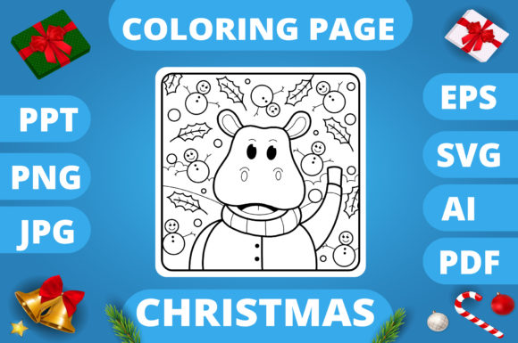 Print on Demand: Christmas Coloring Page for Kids #22 V3 Graphic Coloring Pages & Books Kids By MikeToon Studio