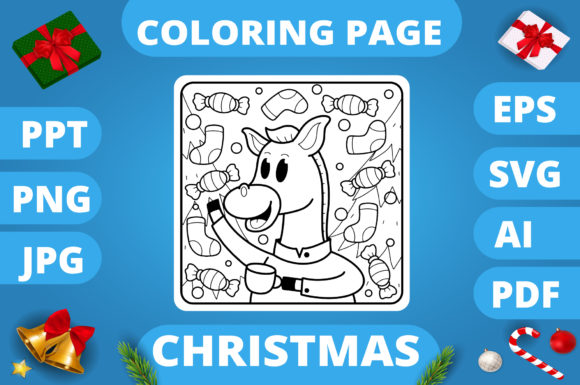 Print on Demand: Christmas Coloring Page for Kids #23 V3 Graphic Coloring Pages & Books Kids By MikeToon Studio