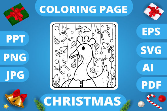 Print on Demand: Christmas Coloring Page for Kids #24 V3 Graphic Coloring Pages & Books Kids By MikeToon Studio