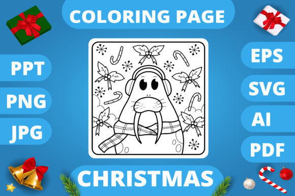 Print on Demand: Christmas Coloring Page for Kids #25 V3 Graphic Coloring Pages & Books Kids By MikeToon Studio