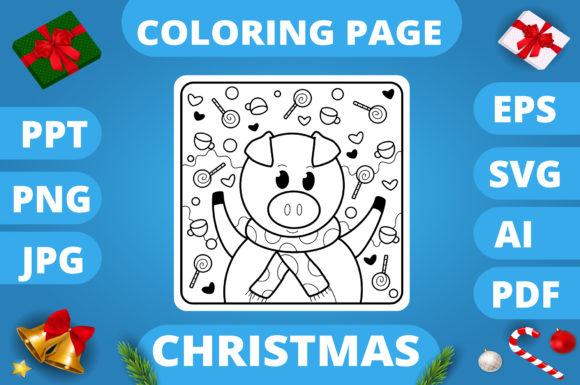 Print on Demand: Christmas Coloring Page for Kids #26 V3 Graphic Coloring Pages & Books Kids By MikeToon Studio