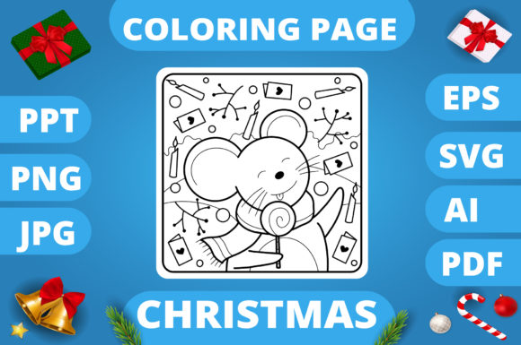 Print on Demand: Christmas Coloring Page for Kids #27 V3 Graphic Coloring Pages & Books Kids By MikeToon Studio