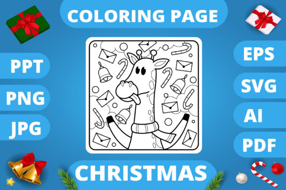Print on Demand: Christmas Coloring Page for Kids #28 V3 Graphic Coloring Pages & Books Kids By MikeToon Studio