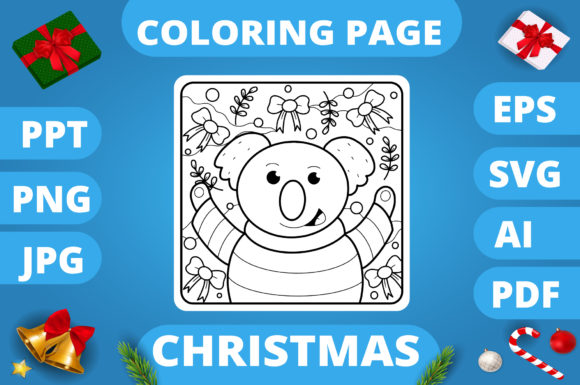 Print on Demand: Christmas Coloring Page for Kids #29 V3 Graphic Coloring Pages & Books Kids By MikeToon Studio