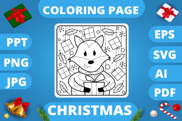 Print on Demand: Christmas Coloring Page for Kids #3 V3 Graphic Coloring Pages & Books Kids By MikeToon Studio