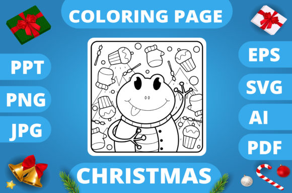 Print on Demand: Christmas Coloring Page for Kids #30 V3 Graphic Coloring Pages & Books Kids By MikeToon Studio