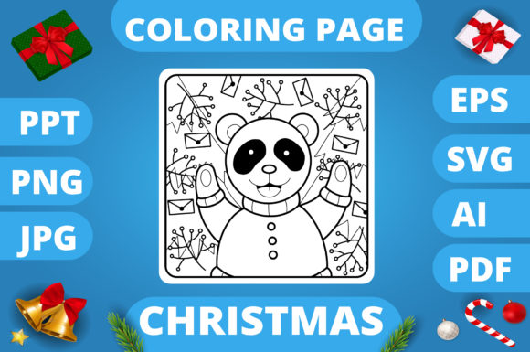 Print on Demand: Christmas Coloring Page for Kids #5 V3 Graphic Coloring Pages & Books Kids By MikeToon Studio