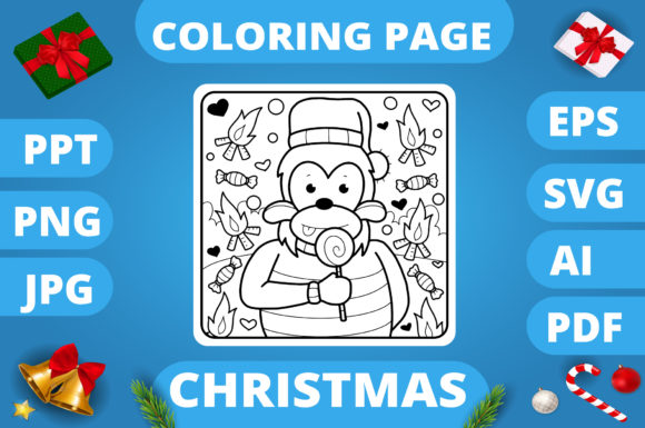 Print on Demand: Christmas Coloring Page for Kids #6 V3 Graphic Coloring Pages & Books Kids By MikeToon Studio