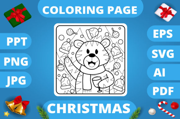 Print on Demand: Christmas Coloring Page for Kids #7 V3 Graphic Coloring Pages & Books Kids By MikeToon Studio