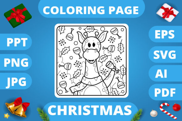 Print on Demand: Christmas Coloring Page for Kids #9 V3 Graphic Coloring Pages & Books Kids By MikeToon Studio