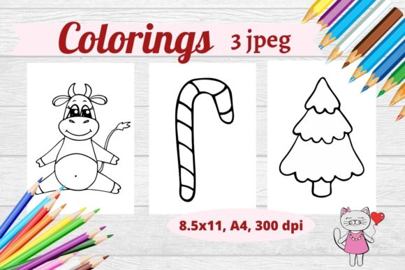 Christmas Coloring Pages- 3 Jpeg Items Graphic Coloring Pages & Books By  Magic world of design