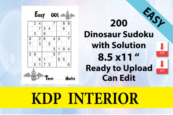 Print on Demand: Dinosaur Sudoku Level Easy 200 Puzzle Graphic KDP Interiors By Creative Crafts