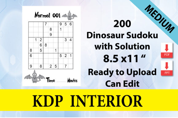 Print on Demand: Dinosaur Sudoku Level Normal 200 Puzzle Graphic KDP Interiors By Creative Crafts