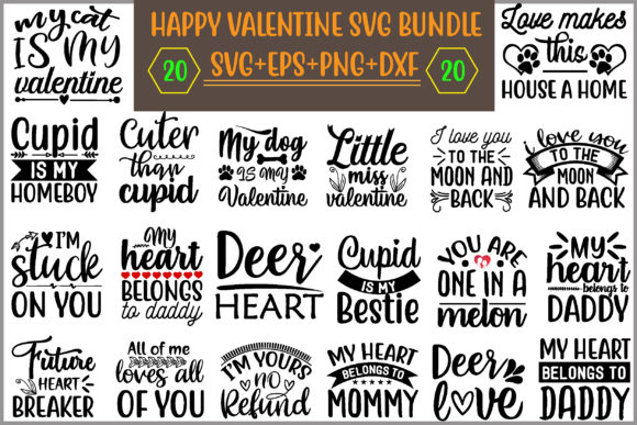 Happy Valentine Quotes Bundle Graphic Print Templates By creative store.net