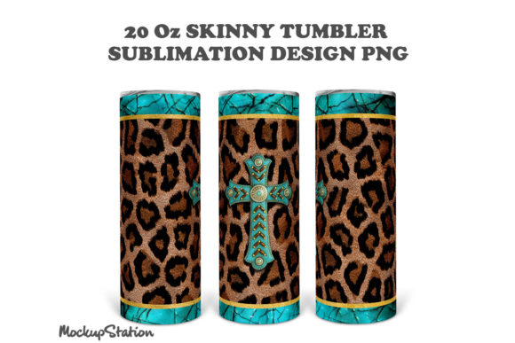 Leopard 20oz Skinny Tumbler Design PNG Graphic Download