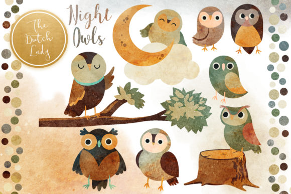 Print on Demand: Night Owl Clipart Set Graphic Illustrations By daphnepopuliers