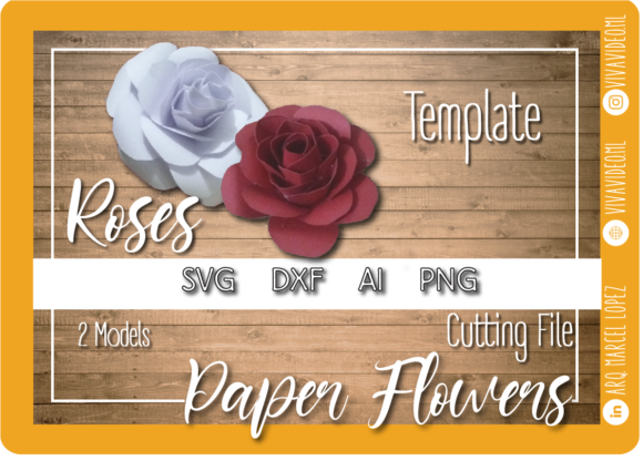 Print on Demand: Paper Flowers Template: Roses Graphic 3D SVG By Marcel de Cisneros
