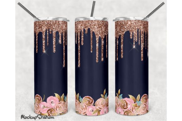 Print on Demand: Pink Glitter 20oz Skinny Tumbler Design Grafik Plotterdateien von Mockup Station
