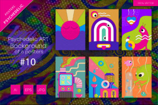 Psychedelic ART Backgrounds #10 Graphic Backgrounds By Keno Shop