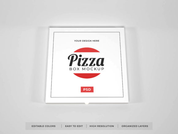 Print on Demand: Realistic Pizza Box Packaging Mockup PSD Graphic Product Mockups By dendysign