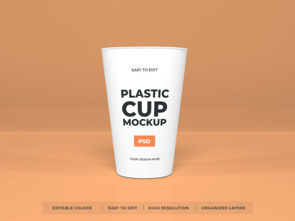 Print on Demand: Realistic Plastic Cup Mockup PSD Graphic Product Mockups By dendysign