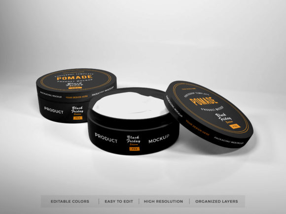 Print on Demand: Realistic Pomade Packaging Mockup PSD Graphic Product Mockups By dendysign