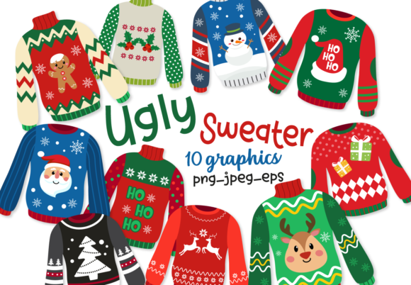 Print on Demand: Ugly Sweaters Grafik Illustrations von DigitalPapers