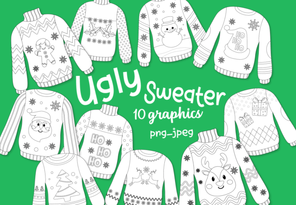 Print on Demand: Ugly Sweaters Outlines Graphic Illustrations By DigitalPapers