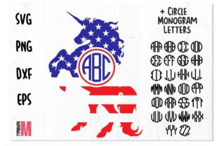 Print on Demand: Unicorn Monogram USA | Circle Letters Graphic Crafts By Typography Morozyuk