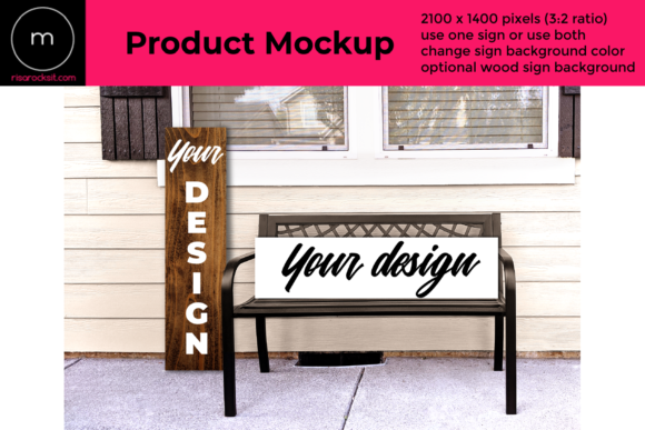 Vertical & Horizontal Porch Sign Mockup Graphic Product Mockups By RisaRocksIt