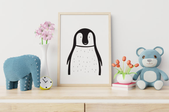 Print on Demand: Wall Art,Cute Penguin Animal Clip Art Graphic Illustrations By Saydung89