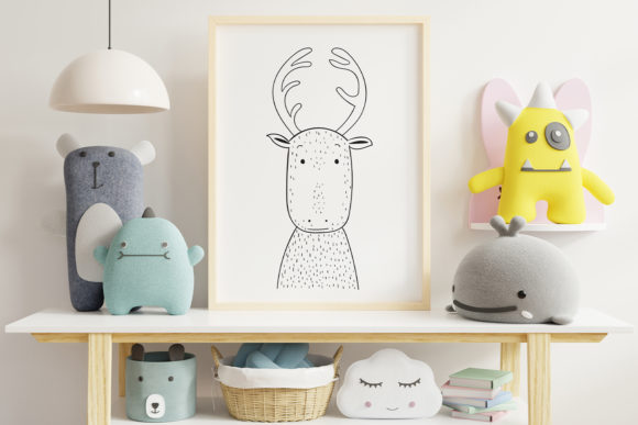 Print on Demand: Wall Art,Cute Reindeer Animal Clip Art Graphic Illustrations By Saydung89