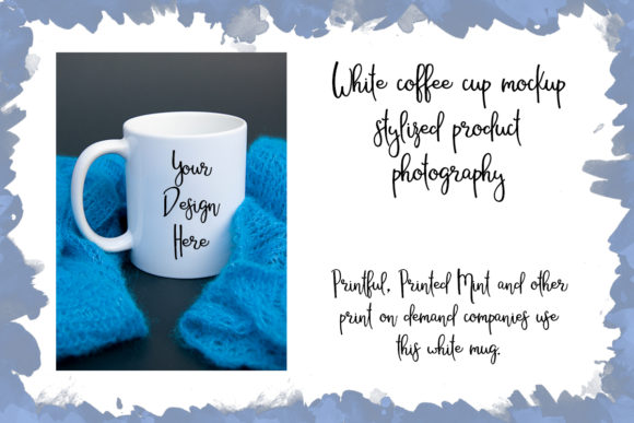 Print on Demand: White Coffee Cup Mockup Stylized Product Graphic Product Mockups By A Design in Time