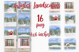 Print on Demand: Winter Background Holiday Scenes Png Graphic Illustrations By LeCoqDesign