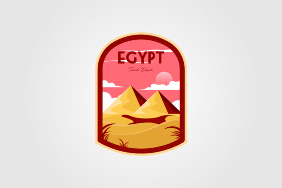 Pyramid on the Desert Logo Vector Design Graphic Logos By lawoel