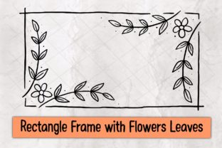 Print on Demand: Rectangle Frame with Flowers Leaves Graphic Crafts By 18 Curo caT