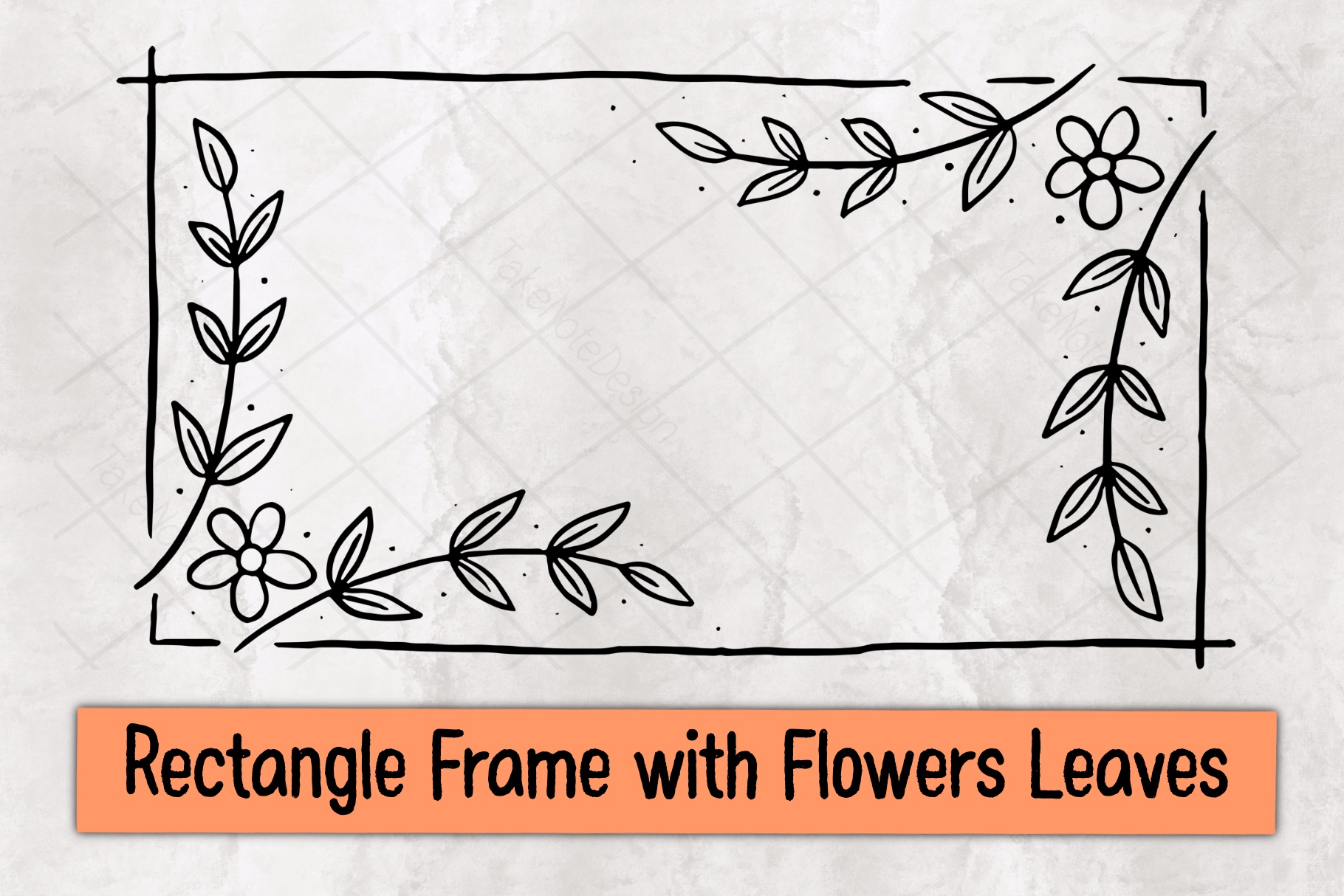 Rectangle Frame with Flowers Leaves SVG File