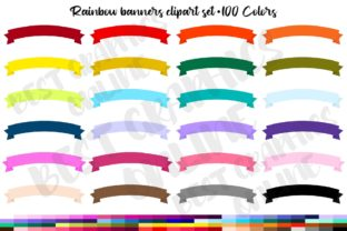 100 Curved Rainbow Banners Clipart Set Graphic Illustrations By bestgraphicsonline